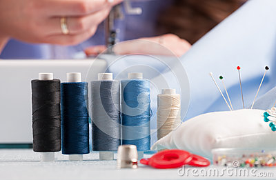 Reels of colour threads and sewing accessories