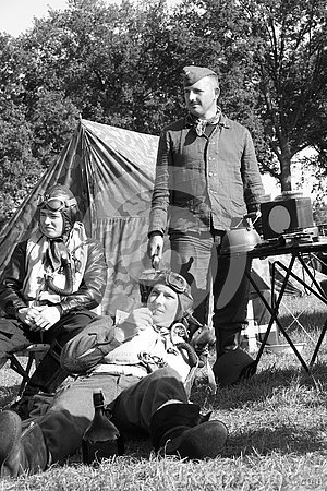 Second world war II german pilots resting campsite