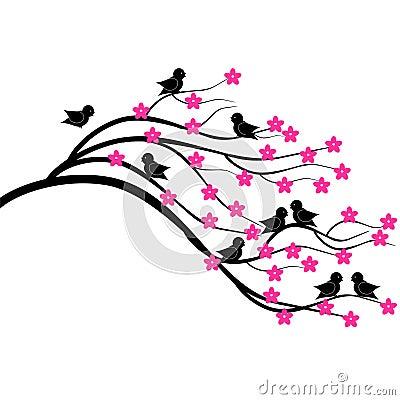 Refeição matinal da árvore com pássaros