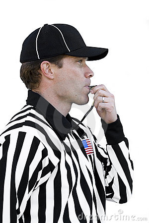 Free Referee Blowing The Whistle Royalty Free Stock Photography - 7214457