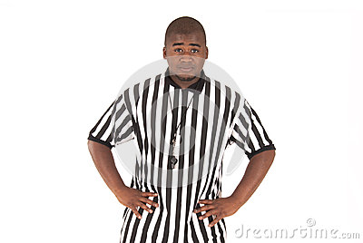 Referee calling football offsides or basketball bl