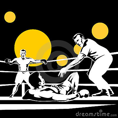 Referee counting down boxer