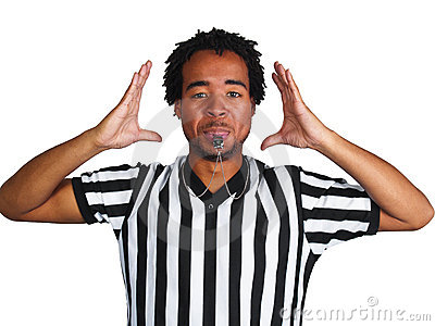 Referee with play gesture