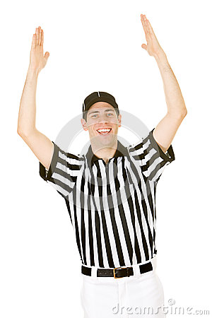 Referee football official signals a touchdown stock photo image - Referee Referee Signals A Touchdown Stock Photo Image