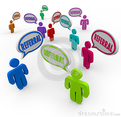 Free Referral Speech Bubble People New Customers Network Marketing Stock Photo - 32194820