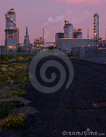 Refinery at night in Montreal (pink version 2)