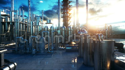 Refinery. Petrolium, chemical plant. Metal Pipe. Realistic cinematic 4k animation. Stock Photo
