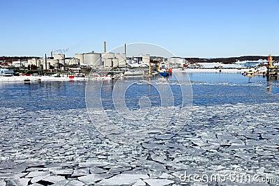 Refinery in winter scenery