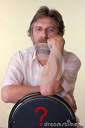 Reflected elderly man