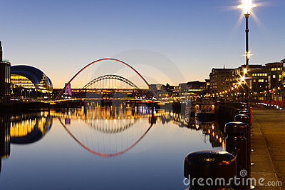 Reflected Tyne bridges