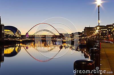 Reflected Tyne bridges