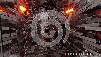 Reflecterende fantasy dungeon Tunnelcorridor in stijl van middelbare leeftijd en met brikettextuur 3d illustratie achtergrond royalty-vrije illustratie