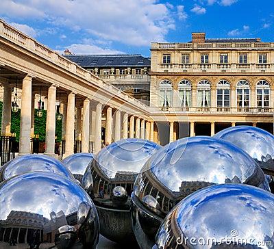 Reflecting Balls of Palais Royale Editorial Stock Image