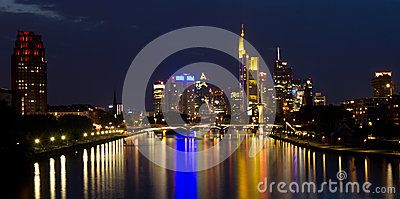 Reflecting lights on the skyline of Frankfurt