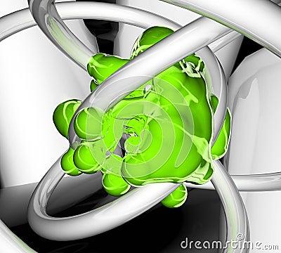 Reflection Abstract, Green Blob