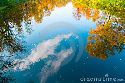 Reflection of autumn trees and sky , clouds in the river