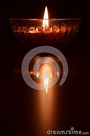 Reflection of burning candle