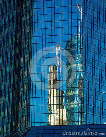 Reflection of business buildings  in a glass facade, Frankfurt,