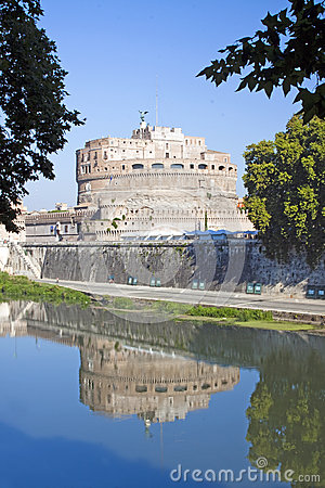 Reflection of Castel Sant Angelo from left side of river Tiber,