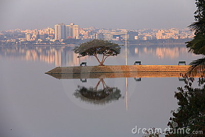 Reflection on a lake at early morning