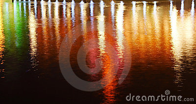 Reflection of lighting on water