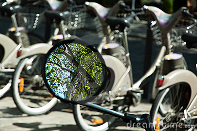 Reflection in mirror and bycicles