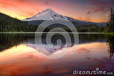 Reflection of Mount Hood on Trillium Lake Sunset
