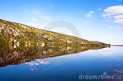 Reflection mountain into the lake (Makedonia,Greec