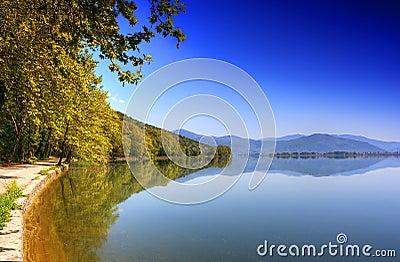 Reflection mountain into the lake (Makedonia,Greec