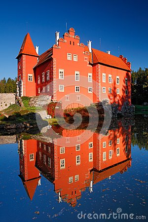 Free Reflection Of The Red Castle On The Lake, With Dark Blue Sky, State Castle Cervena Lhota, Czech Republic Stock Image - 67935141