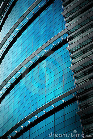 reflection office building glass wall