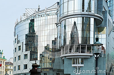 Reflection of old buildings in Vienna