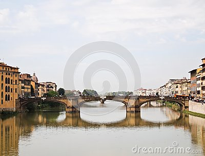Reflection of Ponte alle Grazie Bridge Florence