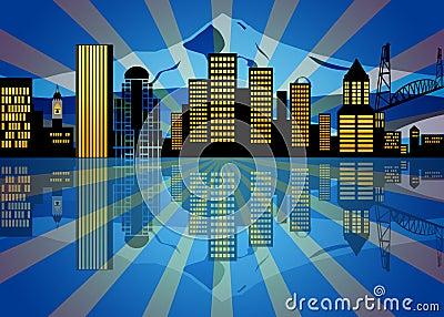 Reflection Portland Oregon Skyline Night