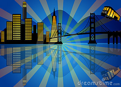 Reflection of San Francisco Skyline at Night