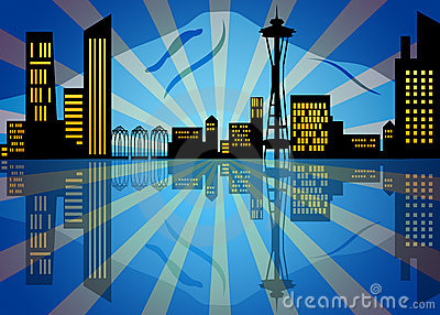 Reflection Of Seattle City Skyline At Night Stock Photography - Image: 21964072