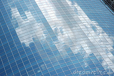 Reflection of sky in glass fac