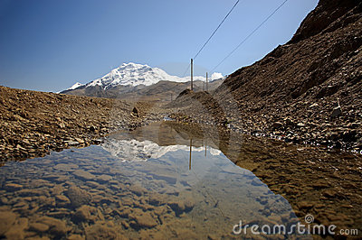 Reflection of snowcapped mountain Stock Photo
