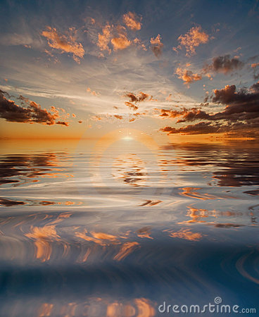 Reflection of sunset in water