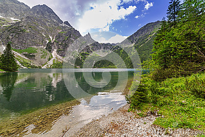 Reflection of Tatra mountains in lake