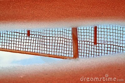 Reflection of tennis net in pool