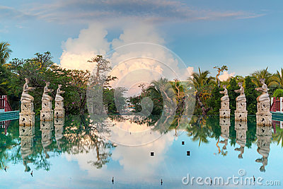 Reflection in tropical swimming pool