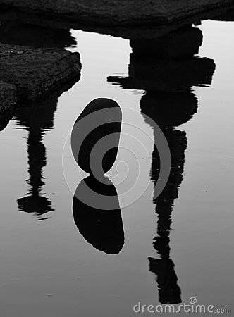 Reflections of Balanced Stones Editorial Photo