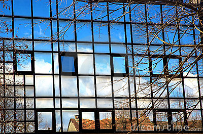 Reflections in blue windows