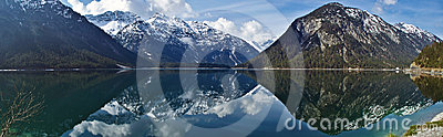 Reflections in the lake Plansee, Austria
