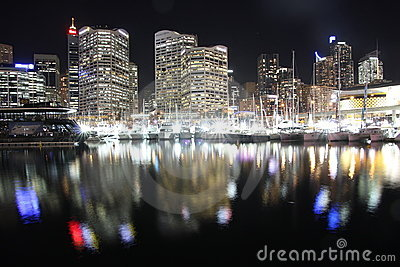 Light reflections city at harbour by night Editorial Photography