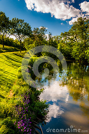Free Reflections Of Clouds And Trees In Antietam Creek, At Antietam National Battlefield Royalty Free Stock Photo - 31997505
