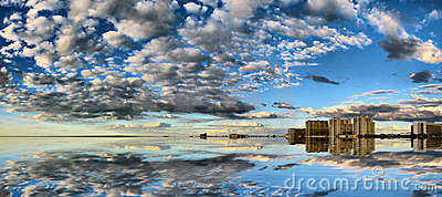 Reflections of sky and clouds