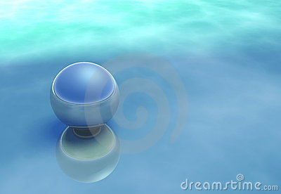 Reflective sphere on a atmospheric blue surface