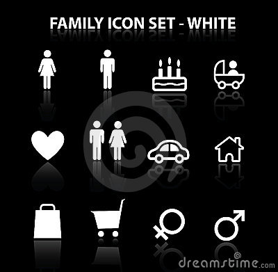 Reflektieren Sie die eingestellte Familien-Ikone (Weiß)